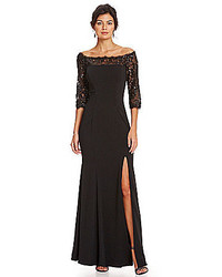 JS Collections Off The Shoulder Illusion Lace Gown