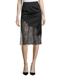 Alice + Olivia Evana Side Slit Midi Skirt W Lace