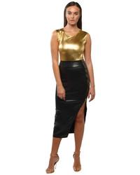 Black Slit Leather Midi Skirt