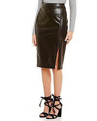 Lucy Paris Angeline Faux Leather Front Slit Midi Skirt