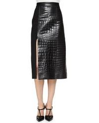 Croc embossed leather paneled skirt medium 886791