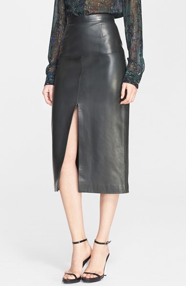 Jason Wu Front Slit Lambskin Leather Skirt | Where to buy & how to ...