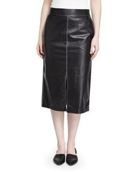 Lafayette 148 New York Adelina Lambskin Pencil Skirt Black