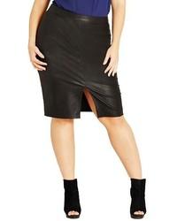 City Chic Plus Size Front Slit Faux Leather Pencil Skirt