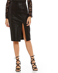 J.o.a. Faux Leather With Front Slit Pencil Skirt