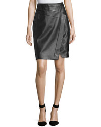 Faux wrap leather pencil skirt noir medium 417319