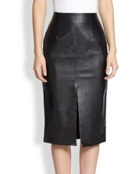Nicholas Front Slit Leather Pencil Skirt