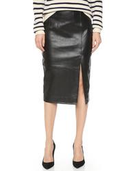 Ganni moss leather skirt medium 417311