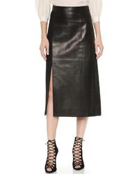 Leather wool pencil skirt medium 322425