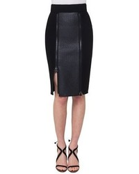 Akris Napa Leather Paneled Zip Slit Pencil Skirt