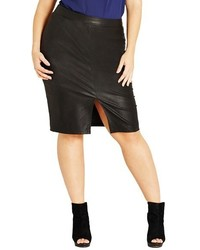 City Chic Plus Size Front Slit Faux Leather Pencil Skirt