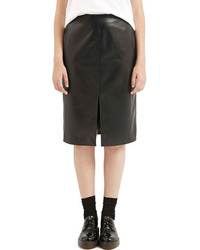 Topshop Slit Leather Midi Skirt
