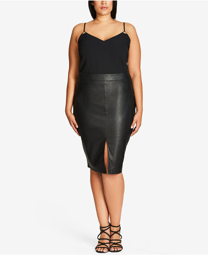 7ac63f1026fe3 ... Skirts City Chic Trendy Plus Size Faux Leather Pencil Skirt ...