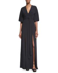 Mirren v neck slit maxi dress black medium 4016870