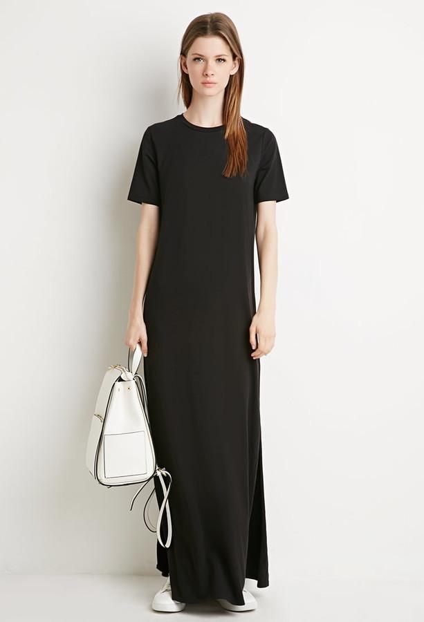 46f4e83cca3 Forever 21 Side Slit T Shirt Maxi Dress