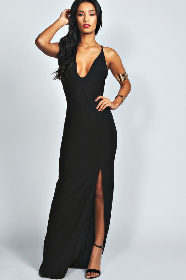 Black split front maxi dress