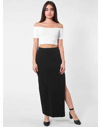 American apparel cotton spandex slit maxi skirt medium 205881