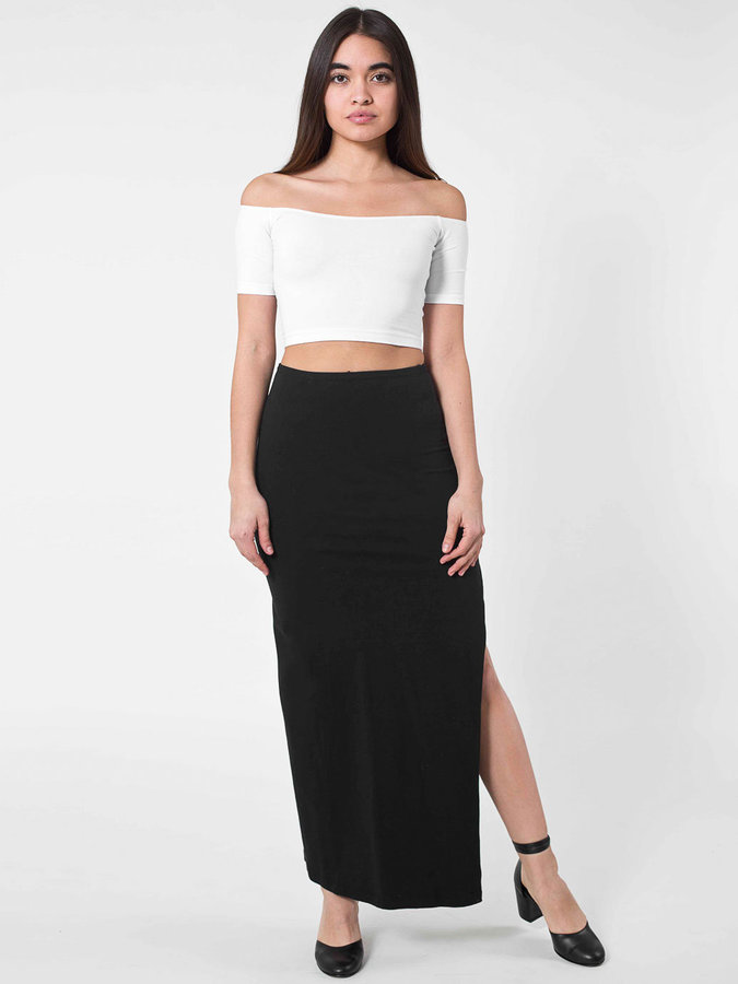 american apparel cotton spandex slit maxi skirt where to