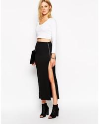 Noisy May Asymmetric Zip Maxi Skirt