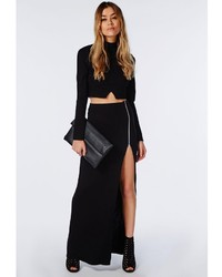 Missguided Natallia Zip Side Split Maxi Skirt Black | Where to buy ...