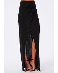 Missguided Slinky Wrap Front Maxi Skirt Black | Where to buy & how ...