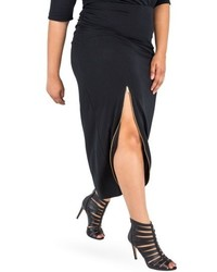 Plus size poetic justice kandi zip slit maxi skirt medium 6368340