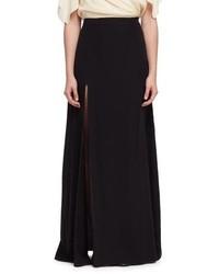 Lanvin Side Slit A Line Maxi Skirt Black