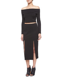 Midi pencil skirt wdouble slit black medium 532078