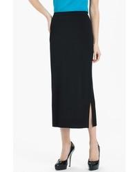Ming wang side slit knit midi skirt black medium medium 532097