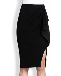 Black Slit Pencil Skirt