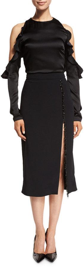 94023d5b1 Cushnie et Ochs Beaded Trim High Slit Pencil Skirt Black, $925 | Neiman  Marcus | Lookastic.com