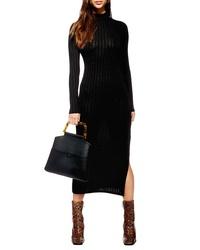 Topshop High Neck Ribbed Midi Dress