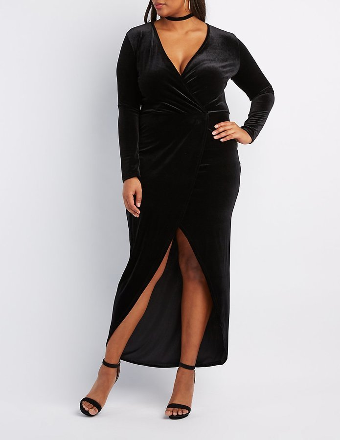Charlotte Russe Plus Size Velvet Surplice Maxi Dress Where To Buy