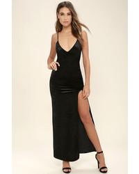 Lulu s nobody but you black velvet maxi dress medium 1128540