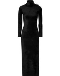 Balenciaga Stretch Velvet Turtleneck Maxi Dress