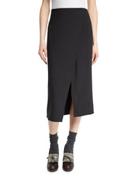 Brunello Cucinelli Front Slit Pencil Midi Skirt Onyx