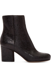 Maison Margiela Black Snake Embossed Trunk Boots