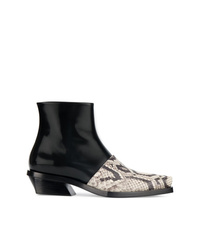 Proenza Schouler Black Snake Toe Cap 30 Leather Ankle Boots