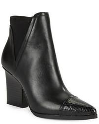 Donald J Pliner Donald J Pliner Vaughn Leather And Snake Embossed Ankle Boots