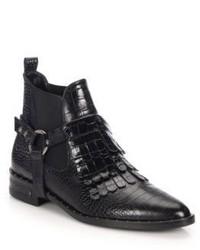 Freda Salvador Fringed Snake Embossed Leather Ankle Boots
