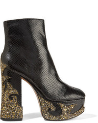 Marc Jacobs Stasha Glittered Snake Effect Leather Platform Boots Black