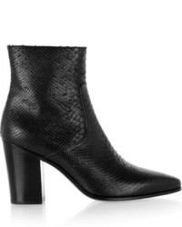 Saint Laurent Snake Effect Leather Ankle Boots