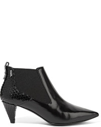 Karl Lagerfeld Snake Effect And Polished Leather Ankle Boots