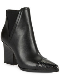 Donald J Pliner Vaughn Leather And Snake Embossed Ankle Boots