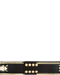 Balmain Black Python Embossed Leather Belt