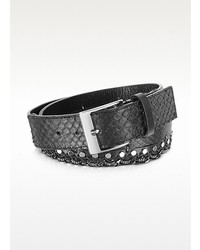 Forzieri Black Python Chain And Studded Belt
