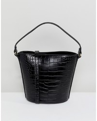 Mango Croc Print Bucket Bag In Black