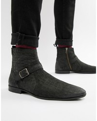Black Snake Leather Chelsea Boots