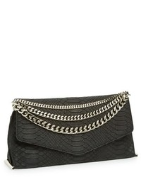 Black Snake Leather Clutch