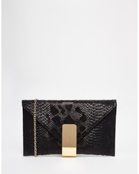 Chi Chi London Chi Chi Black Faux Snake Clutch Bag